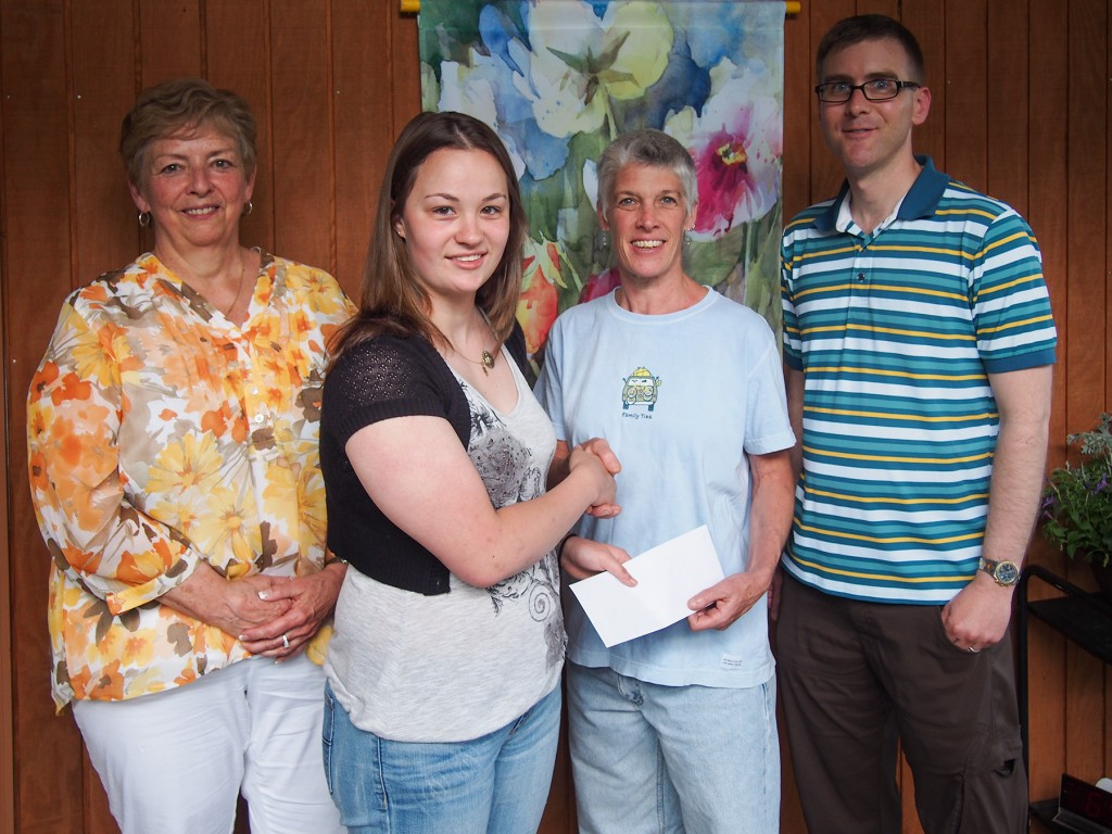From left to right: Scholarship Committee co-chair Mary Ann Lunniss, scholarship winner Kristen DeVilliers, Scholarship Committee co-chair Christine Weigand, and NEPAS President Chris Fischer.